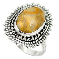 Natural fossil coral (agatized) petoskey stone 925 silver ring size 7 m60751
