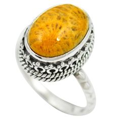 Natural fossil coral (agatized) petoskey stone 925 silver ring size 8 m60752