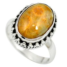 Natural fossil coral (agatized) petoskey stone 925 silver ring size 7 m60754