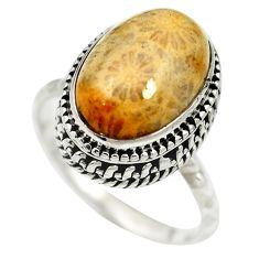 Natural fossil coral (agatized) petoskey stone 925 silver ring size 8.5 m60755