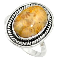 925 silver natural fossil coral (agatized) petoskey stone ring size 6 m60756