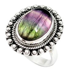 925 sterling silver natural multi color fluorite ring jewelry size 6.5 m60980