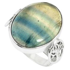 Natural multi color fluorite 925 sterling silver ring size 8.5 m60982