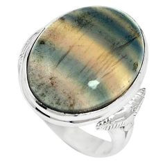 Natural multi color fluorite 925 sterling silver ring size 8.5 m60985