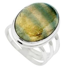 Natural multi color fluorite 925 sterling silver ring size 8.5 m60987
