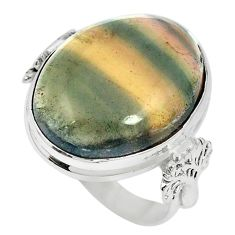 925 sterling silver natural multi color fluorite ring size 7 m60989