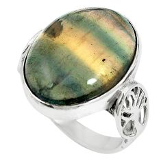 Natural multi color fluorite 925 sterling silver ring size 7 m60992