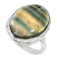 Natural multi color fluorite 925 sterling silver ring size 8.5 m60998