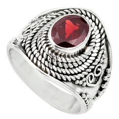 Natural red garnet 925 sterling silver ring jewelry size 6 m61241