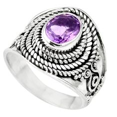 Natural purple amethyst 925 sterling silver ring jewelry size 6 m61247