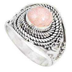 Natural pink morganite 925 sterling silver ring jewelry size 8 m61383