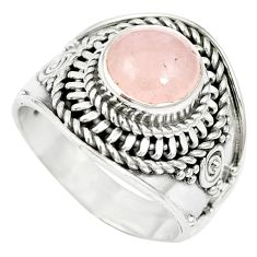 Natural pink morganite 925 sterling silver ring jewelry size 6 m61393