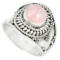 Natural pink morganite 925 sterling silver ring jewelry size 7 m61395