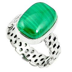 Natural green malachite (pilot's stone) 925 silver ring size 6.5 m62015