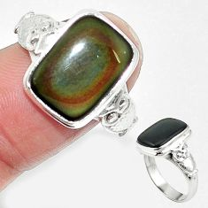 Natural rainbow obsidian eye 925 sterling silver owl ring size 7 m62276