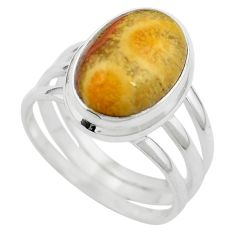 Natural fossil coral (agatized) petoskey stone 925 silver ring size 8 m63103