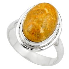 925 silver natural fossil coral (agatized) petoskey stone ring size 6.5 m63110