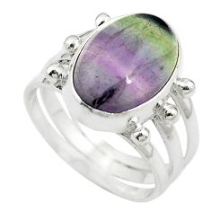 Natural multi color fluorite 925 sterling silver ring jewelry size 7 m63111
