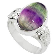 Natural multi color fluorite 925 sterling silver ring jewelry size 6.5 m63112