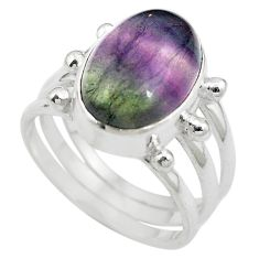 Natural multi color fluorite 925 sterling silver ring size 7 m63113