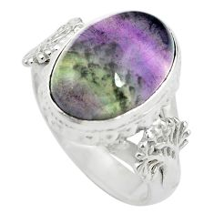 925 sterling silver natural multi color fluorite ring jewelry size 6 m63114