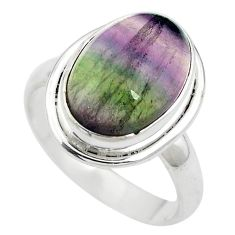Natural multi color fluorite 925 sterling silver ring size 7 m63116