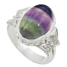 Natural multi color fluorite 925 silver butterfly ring size 7.5 m63117