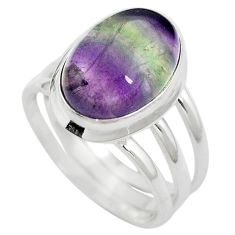 925 sterling silver natural multi color fluorite ring size 8 m63118