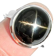 11.56cts natural black star 925 sterling silver ring jewelry size 8 m63261