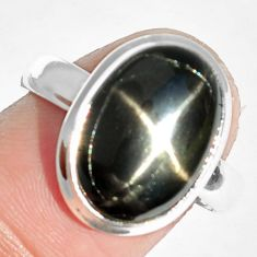 6.75cts natural black star 925 sterling silver ring jewelry size 8 m63270