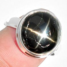 7.55cts natural black star 925 sterling silver ring jewelry size 8 m63274
