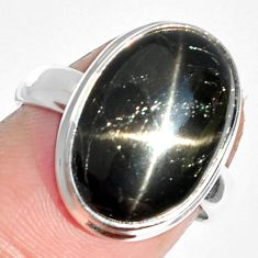 8.13cts natural black star 925 sterling silver ring jewelry size 6 m63275