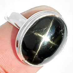 8.43cts natural black star 925 sterling silver ring jewelry size 7 m63276