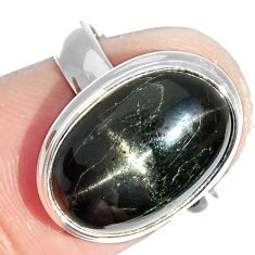 8.21cts natural black star 925 sterling silver ring jewelry size 6.5 m63277