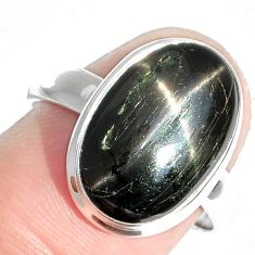 7.55cts natural black star 925 sterling silver ring jewelry size 8 m63278