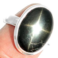 9.33cts natural black star 925 sterling silver ring jewelry size 7.5 m63281
