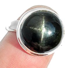9.65cts natural black star 925 sterling silver ring jewelry size 6.5 m63283