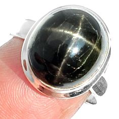 7.49cts natural black star 925 sterling silver ring jewelry size 6 m63284