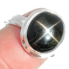 7.06cts natural black star 925 sterling silver ring jewelry size 7 m63285