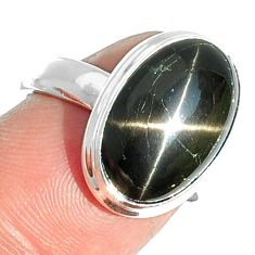 7.03cts natural black star 925 sterling silver ring jewelry size 7 m63287