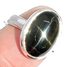 7.05cts natural black star 925 sterling silver ring jewelry size 7.5 m63288