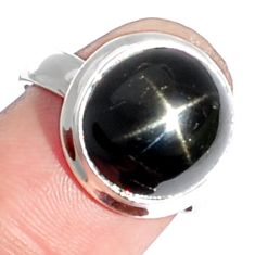 6.77cts natural black star 925 sterling silver ring jewelry size 6.5 m63291