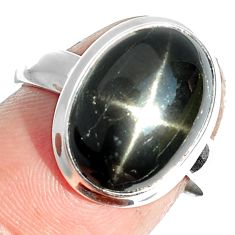 6.28cts natural black star 925 sterling silver ring jewelry size 7 m63295
