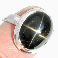 6.98cts natural black star 925 sterling silver ring jewelry size 1 6/8 m63299