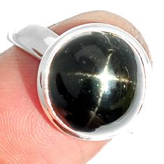 6.90cts natural black star 925 sterling silver ring jewelry size 7.5 m63306