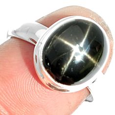 5.24cts natural black star 925 sterling silver ring jewelry size 7 m63308