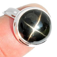 7.01cts natural black star 925 sterling silver ring jewelry size 6 m63313