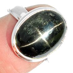 7.05cts natural black star 925 sterling silver ring jewelry size 7 m63314