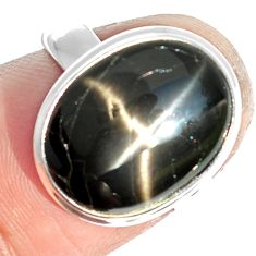 8.21cts natural black star 925 sterling silver ring jewelry size 6.5 m63316