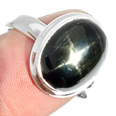6.00cts natural black star 925 sterling silver ring jewelry size 8 m63318